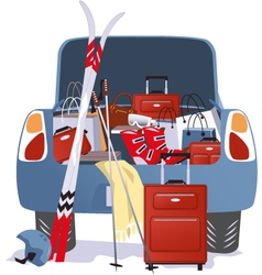 Car packed for a ski trip vector