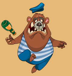 Cartoon bear in the clothes of a paratrooper with vector
