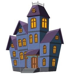 Cartoon scary house isolated on white background vector image