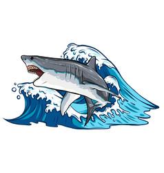 Cartoon white shark design vector