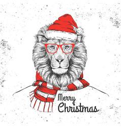 Christmas hipster fashion animal lion vector