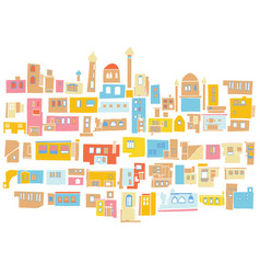 Color hindu arabian urban architectural city vector