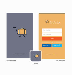 Company luggage cart splash screen and login page vector
