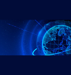 concept global planet earth point black background vector image