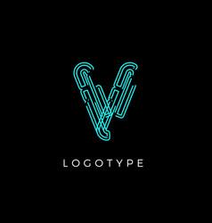 Cyber letter v for digital technology logo concept vector