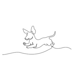 Dachshund dog running silhouette one line drawing vector