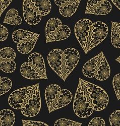 dark and gold seamless pattern with hearts vector image