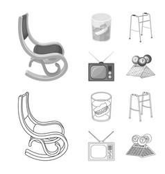 Denture rocking chair walker old tvold age set vector