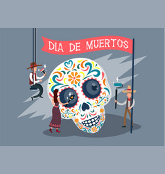Dia de los muertos card with spanish text vector