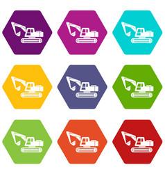 digging machine icons set 9 vector image