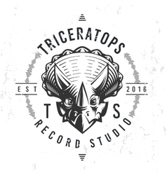 Dinosaur record studio logo template Triceratops vector image