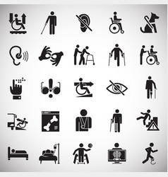 Disability icons set on white background vector