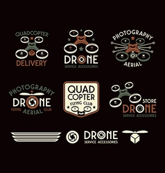 Drone set of badges vector