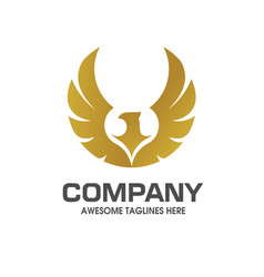 Eagle wings with gold color logo vector