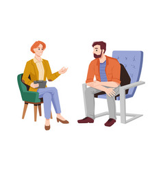female psychiatrist psychotherapy session with man vector image