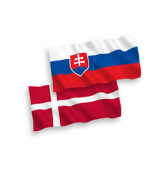 flags denmark and slovakia on a white vector image