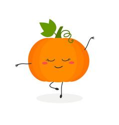 Funny cartoon pumpkin ballerina vector