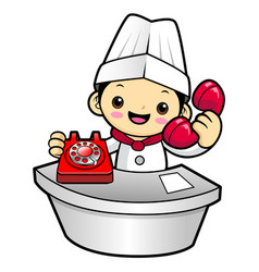 funny cook character has telephone conversation vector image