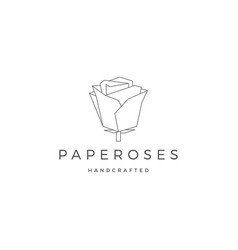 geometric paper flower rose logo icon line vector image