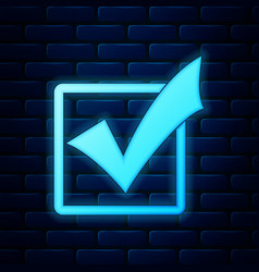 Glowing neon check mark in a box icon isolated on vector