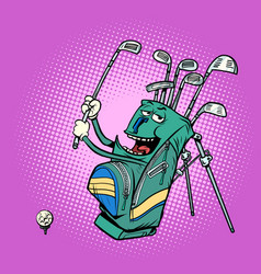 golf bag funny character clubs and sports vector image