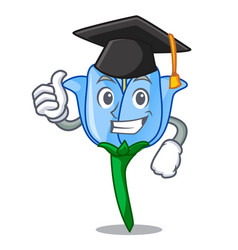 Graduation bell flower character cartoon vector