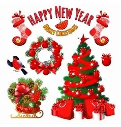 Great christmas set decorations in red vector