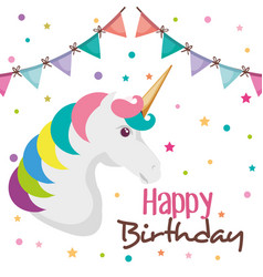 Happy birthday card with unicorn character vector