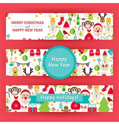 Happy New Year Template Banners Set Modern Flat vector image