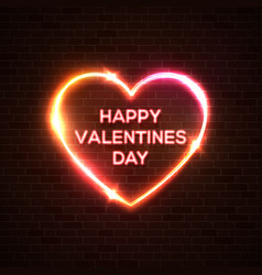 happy valentines day neon background color card vector image