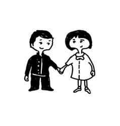 holding hands vector image