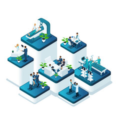 isometric doctors concept work of medical hospital vector image