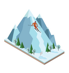 isometric man pulls off the mountain vector image