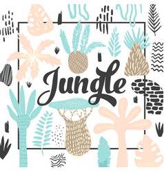 jungle tropical design in childish style floral vector image