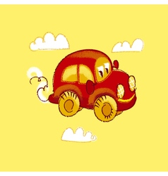 Kiddy red vintage toy car vector