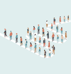 large group people stand in line vector image