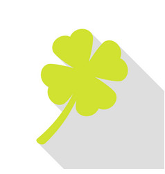 leaf clover sign pear icon with flat style shadow vector image