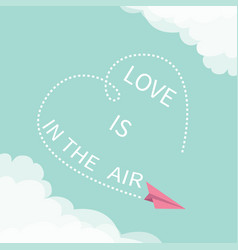 love is in air lettering text flying pink vector image