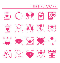 love line icons set happy valentine day pink vector image