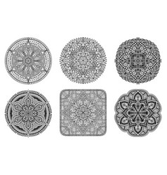 mandala set black oriental decorative flower vector image