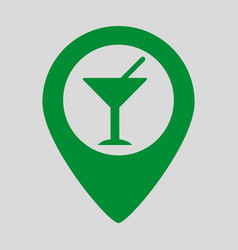 map pointer with cocktail icon on grey background vector image