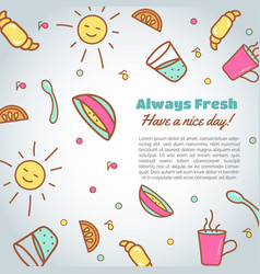 morning time background breakfast vector image