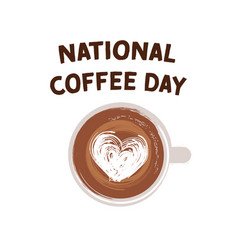 National coffee day hand drawn logotype vector
