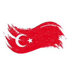 National flag of turkey designed using brush vector