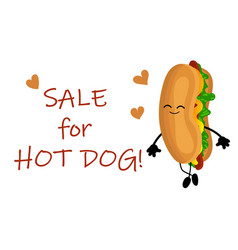 national hot dog day poster with funny cartoon vector image