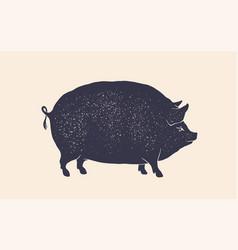 Pork pig vintage retro print silhouette pig vector
