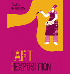 Poster art exposition at city museum vector