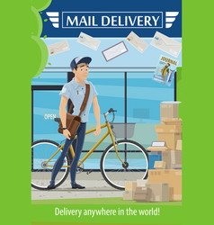 postman parcel and letters mail delivery service vector image