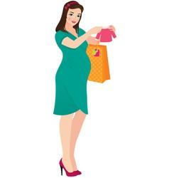 Pregnant woman shopper vector