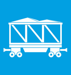 Railway wagon icon white vector